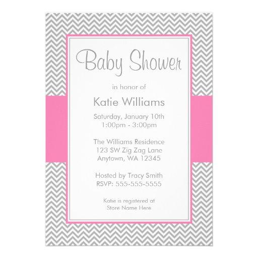 pink and gray chevron baby shower invitations 5 x 7 invitation ca