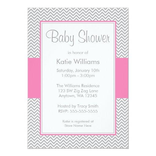 pink and gray chevron baby shower invitations zazzle