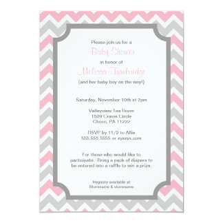 pink and grey chevron invitations announcements zazzle