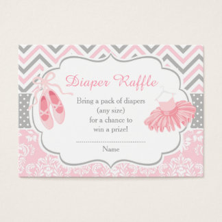 Pink and Gray Chevron Ballerina Baby Diaper Raffle Business Card