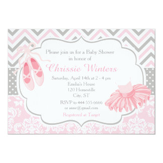 Pink And Gray Chevron Ballerina Baby Shower Card