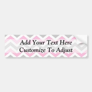 Pink and gray chevron bumper sticker