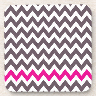 Pink and gray chevron drink coasters