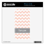Pink and Gray Chevron iPhone 4 / 4s Skin iPhone 4S Decals