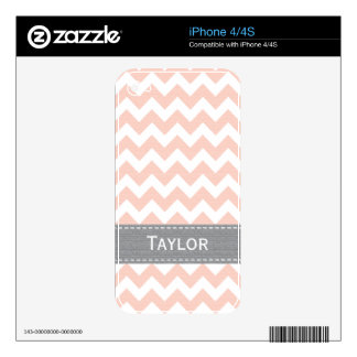 Pink and Gray Chevron iPhone 4 / 4s Skin Decals For iPhone 4
