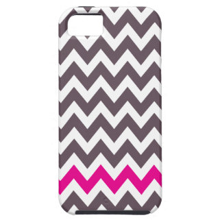 Pink and gray chevron iPhone 5 case