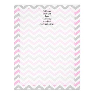 Pink and gray chevron letterhead