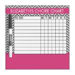 Pink and Gray Chevron Pattern Chore Chart Dry Erase Board