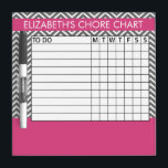 "Pink and Gray Chevron Pattern Chore Chart Dry Erase Board<br><div class=""desc"">A popular design with stripes and zig zags and an area to add your chlidren&#39;s name. Trendy colors and popular patterns make this a modern and fun chore chart for kids. If you need to adjust the text,  click on the customize button and make changes.</div>"