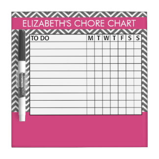 Pink and Gray Chevron Pattern Chore Chart Dry Erase Board