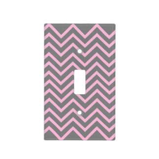 Pink and Gray Chevron Pattern Light Switch Cover