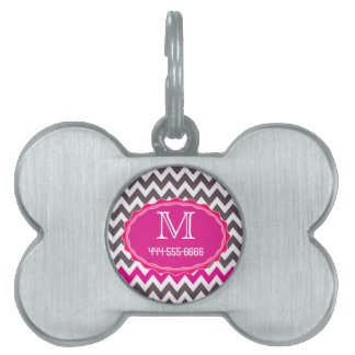 Pink and gray chevron pet tag