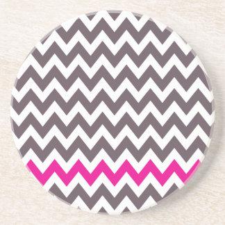 Pink and gray chevron sandstone coaster