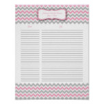 Pink and Gray Chevron Shower Gift List Poster