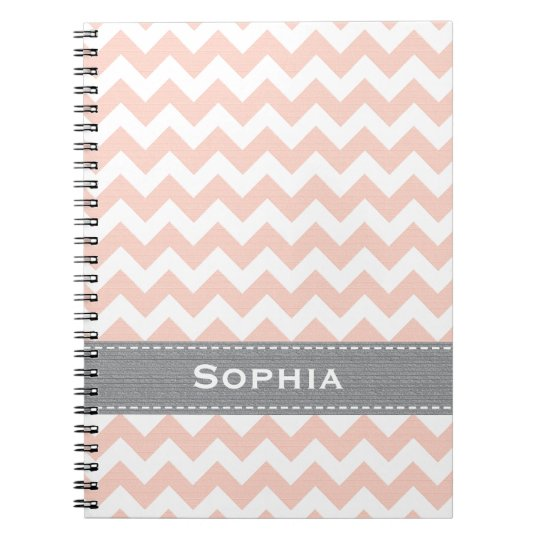 Pink and Gray Chevron Spiral Notebook Journal