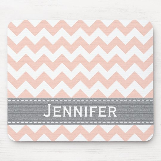 Pink and Gray Chevron Striped Mousepad