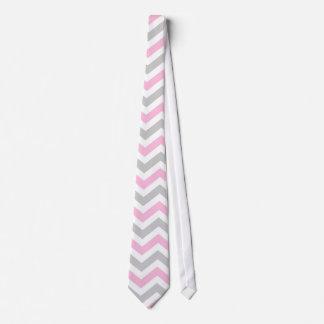 Pink and gray chevron tie