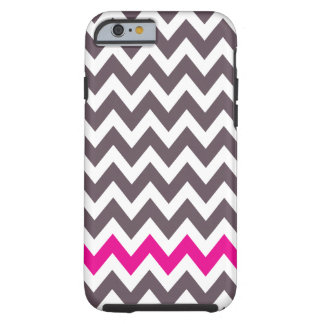 Pink and gray chevron tough iPhone 6 case