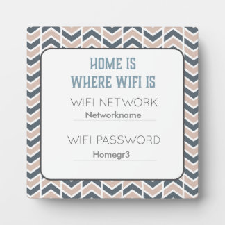 Pink and Gray Chevron Wifi Guest Plaque