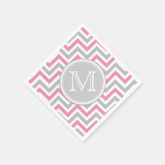 Pink and Gray Chevron with Monogram Napkin