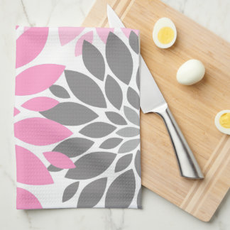 Pink and Gray Chrysanthemums Floral Pattern Hand Towel