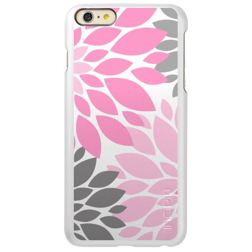 Pink and Gray Chrysanthemums Floral Pattern Incipio Feather Shine iPhone 6 Plus Case