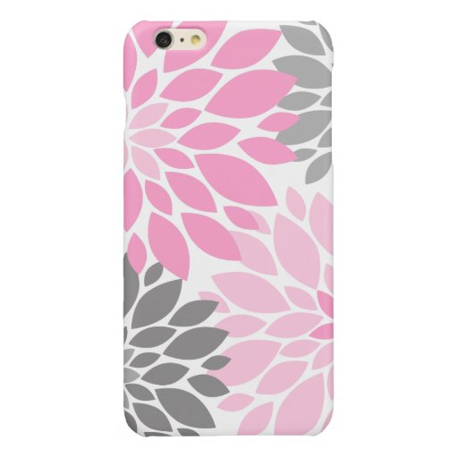 Pink and Gray Chrysanthemums Floral Pattern Glossy iPhone 6 Plus Case