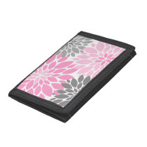 Pink and Gray Chrysanthemums Floral Pattern Trifold Wallet