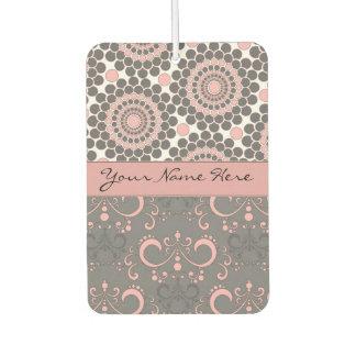 Pink and Gray Circles and Swirls Air Freshener