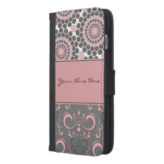 Pink and Gray Circles and Swirls iPhone 6/6s Plus Wallet Case