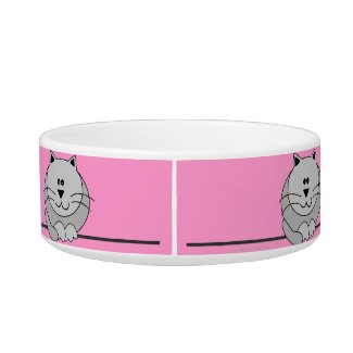 Pink and Gray Cute Fat Cat Personalized Pet Bowl Cat Bowl