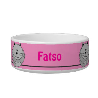 Pink and Gray Cute Fat Cat Personalized Pet Bowl