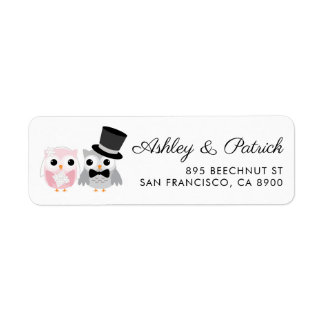 Pink and Gray | Cute Owl Bride and Groom Wedding Label