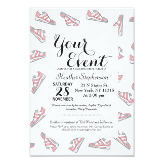 Pink and Gray Cute Sneakers Pattern Card
