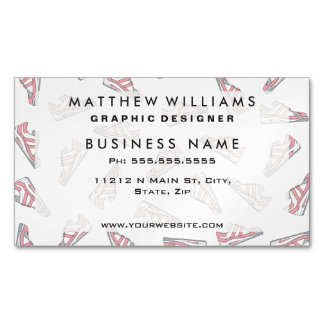 Pink and Gray Cute Sneakers Pattern Magnetic Business Card