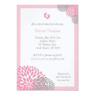 Pink and Gray Dahlia Baby Shower Invite with feet