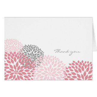 Pink and Gray Dahlia Blossom Thank you notes