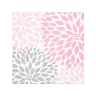 Pink and Gray Dahlia Square Wall Art Canvas Print