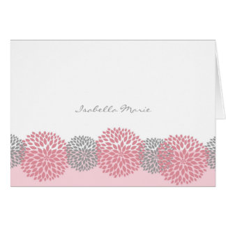 Pink and Gray Dahlia Thank You Note Card