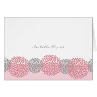 Pink and Gray Dahlia Thank You Note Cards