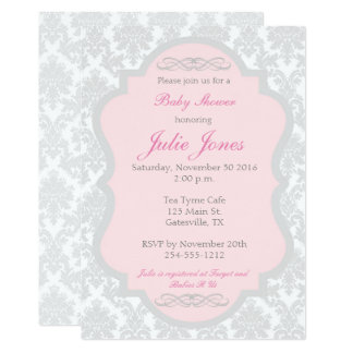 Pink and Gray Damask Baby Shower Invitation