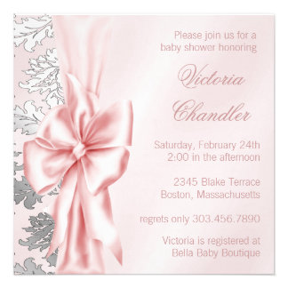 Pink and Gray Damask Baby Shower Custom Announcement