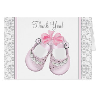 Pink and Gray Damask Baby Shower Thank You Cards