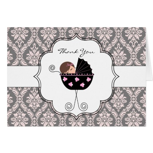 Pink and Gray Damask Baby Thank You Cards