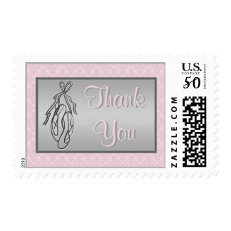 Pink and Gray Damask, Ballet Thank You Postage