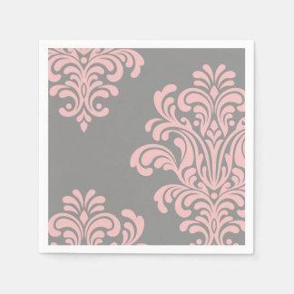 Pink and Gray Damask Pattern Paper Napkin