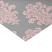 Pink and Gray Damask Pattern Tissue Paper