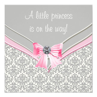 Pink and Gray Damask Pink Bow Princess Baby Shower Card