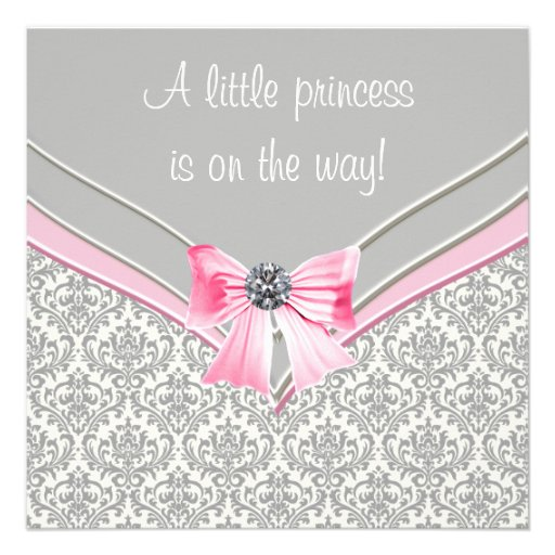 pink and gray damask pink bow princess baby shower square