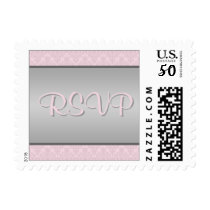 Pink and Gray Damask RSVP Postage